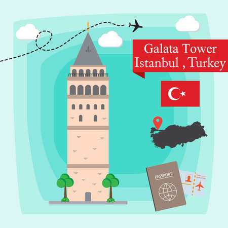 Galata Tower, Istanbul Turkey Concept Vector Illustration