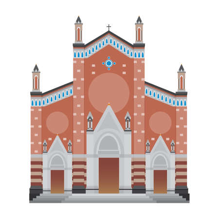 Saint Antoine Church, Istanbul Turkey Isolated Vector Illustration