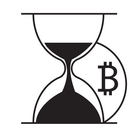 Hourglass and bitcoin icon vector desing illustration