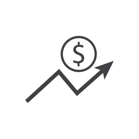 Icona di crescita del dollaro con segno di freccia. I guadagni aumentano. Vettore.