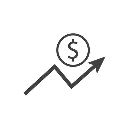 Dollar growth icon with arrow sign. Earnings increase. Vector.