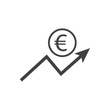 Euro growth icon with arrow sign. Earnings increase. Vector.