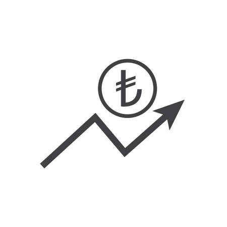 Turksih liras growth icon with arrow sign. Earnings increase. Vector.