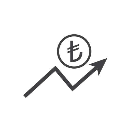 Turksih liras growth icon with arrow sign. Earnings increase. Vector.