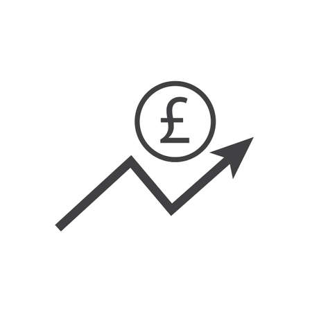 Pound growth icon with arrow sign. Earnings increase. Vector.
