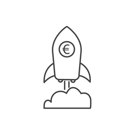 Euro growth icon with rocket sign. Earnings increase. Vector. Illustration