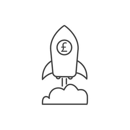 Pound growth icon with rocket sign. Earnings increase. Vector.
