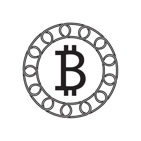 bitcoin sign with blockchain concept. future technology. vector design.