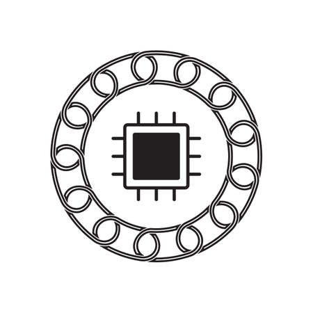 chipset icon with blockchain concept. future technology. vector illustration.
