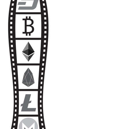 Film strip and coin symbol with blank writing area. Vector illustration design. Illustration