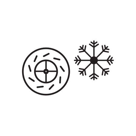 Snowflake and car tire icon vector design illustration.