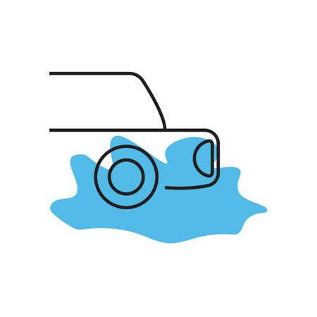 Car water splash icon vector design illustration. Illustration