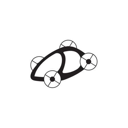 Car flying in the future black vector design illustration.