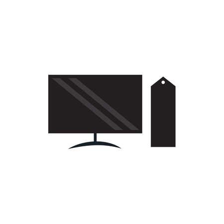 computer black vector icon. silhouette design illustration.