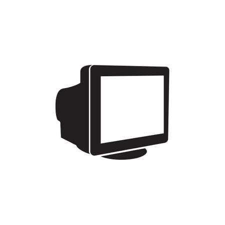 Old monitor black icon vector design illustration.