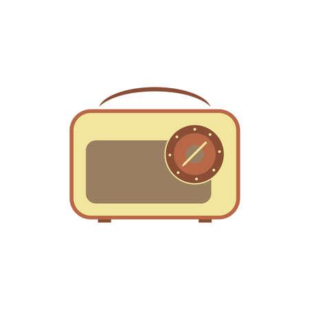 Retro radio flat icon vector design illustration.