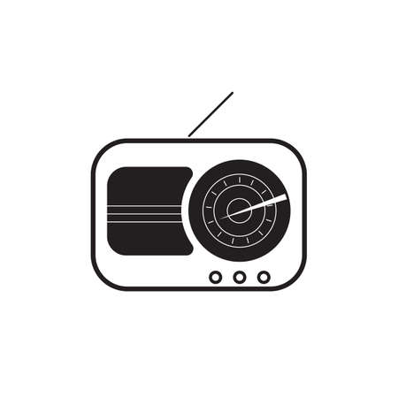 Retro radio black icon vector design illustration. Illustration