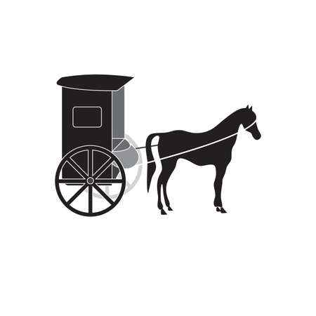 Black silhouettes of horse and carriage vector.