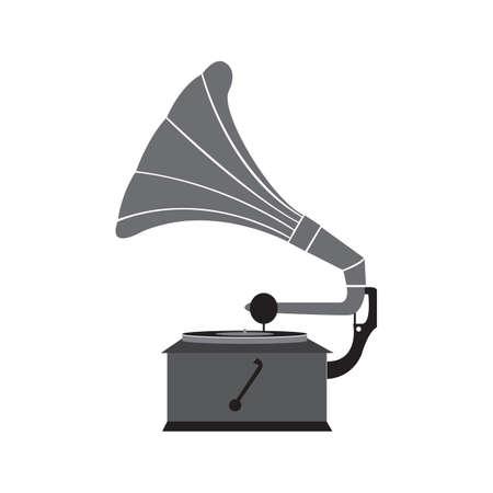 Grammophon schwarzes Symbol. Retro-Vektor-Design-Illustration.