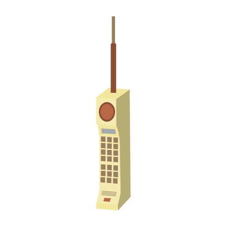 retro mobile phone flat icon vector design illustration.