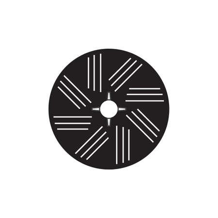 Stone wheel black vector icon design illustration.