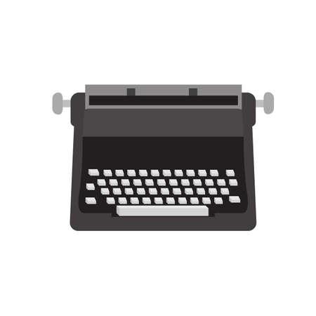 Old typewriter black icon vector design illustration.