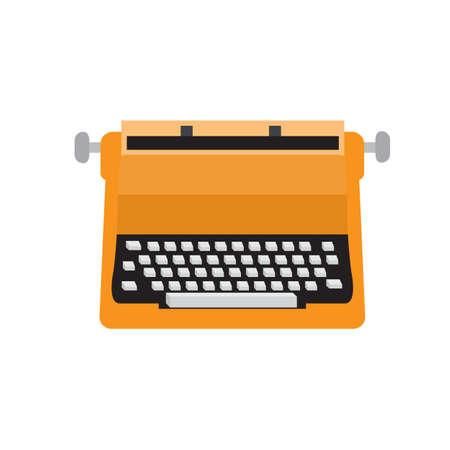 Old typewriter flat icon vector design illustration.