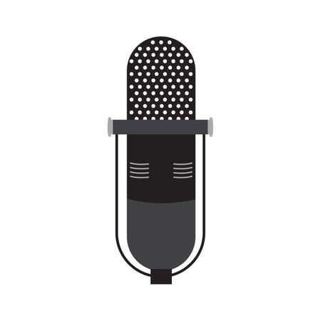 Old microphone black icon vector design illustration.
