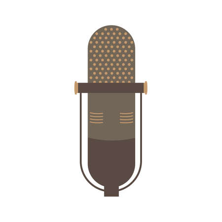 Old microphone flat icon vector design illustration.
