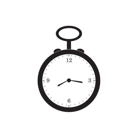 Ilustración de diseño de vector de icono negro de reloj de bolsillo retro.