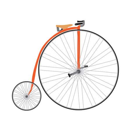 Old bicycle flat icon vector design illustration. Illustration