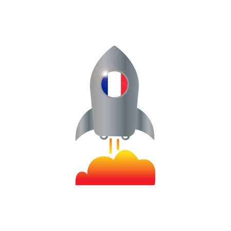 France and spaceship icon vector design illustration.