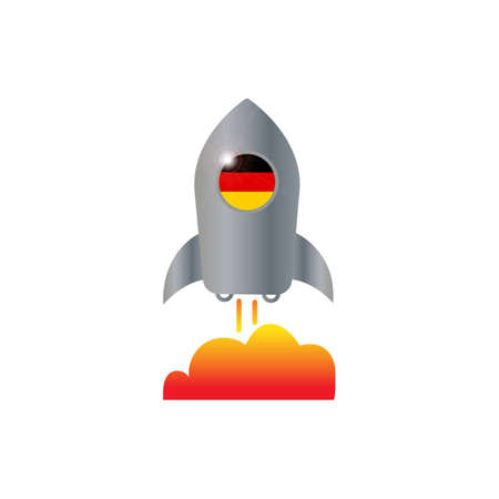 Germany and spaceship icon vector design illustration.