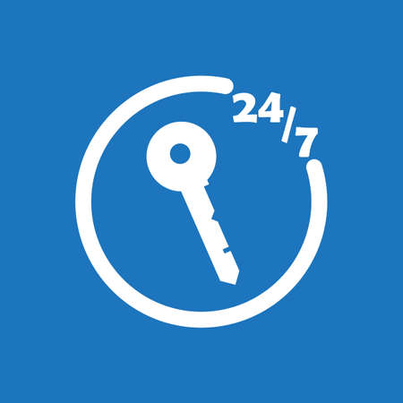 247 locksmith icon flat vector design illustration. Illustration