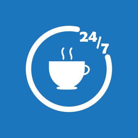 247 cafe icon flat vector design illustration.