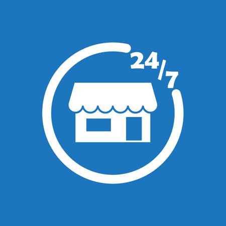 247 store icon flat vector design illustration.