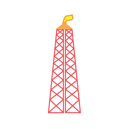 gas rig colored flat icon vector design illustration.