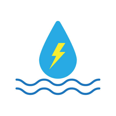 hydroelectric colored flat icon vector design illustration. 向量圖像