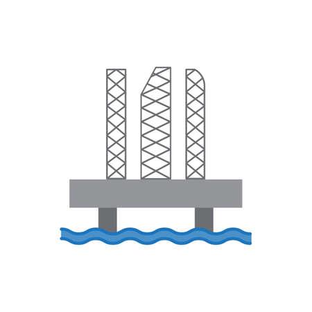 oil platform colored icon vector design illustration.