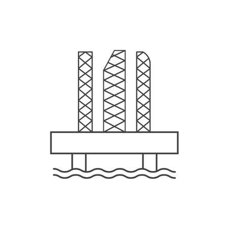 oil platform outline icon vector design illustration.