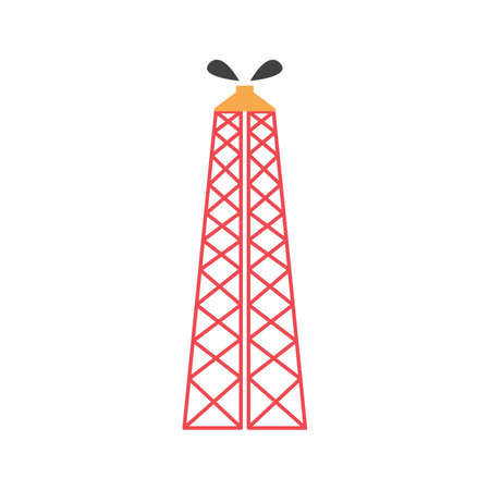 oil rig colored flat icon vector design illustration. Иллюстрация