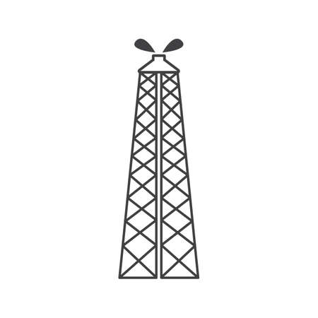 oil rig outline flat icon vector design illustration.