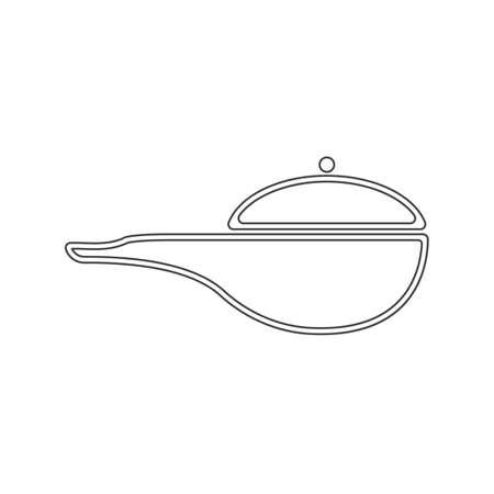 deep frying pan outline icon vector design illustration. Çizim