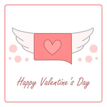 Valentine's day card with speech bubble. vector design illustration. Stock Illustratie