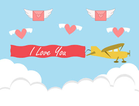 Valentine's day card with retro sailplane. glider vector design illustration. Banque d'images - 125570748