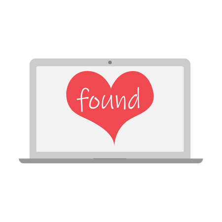 heart with found text. to found for love