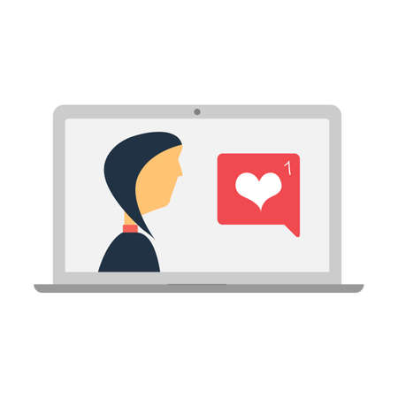 heart icon and a message in laptop screen