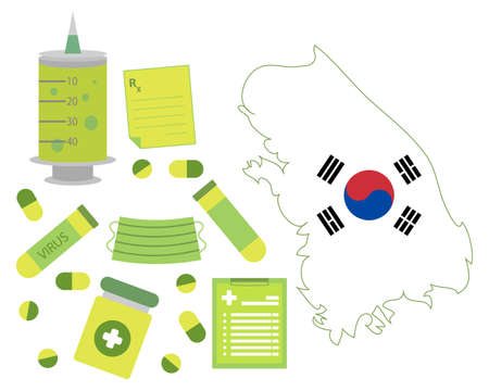 Virus-themed vector work in South Korea. Along with medicines and healthcare icons. Corona Virus outbreak.