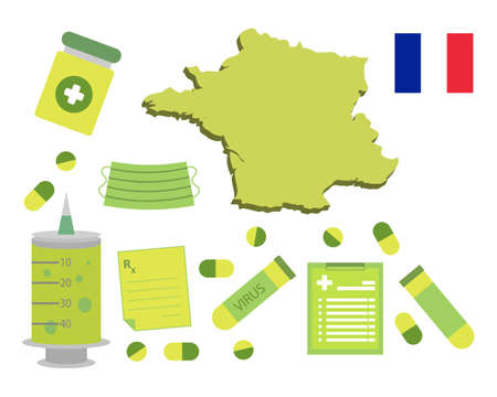 Virus-themed vector work in France. Along with medicines and healthcare icons. Corona Virus outbreak. Illustration