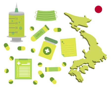 Virus-themed vector work in Japan. Along with medicines and healthcare icons. Corona Virus outbreak.